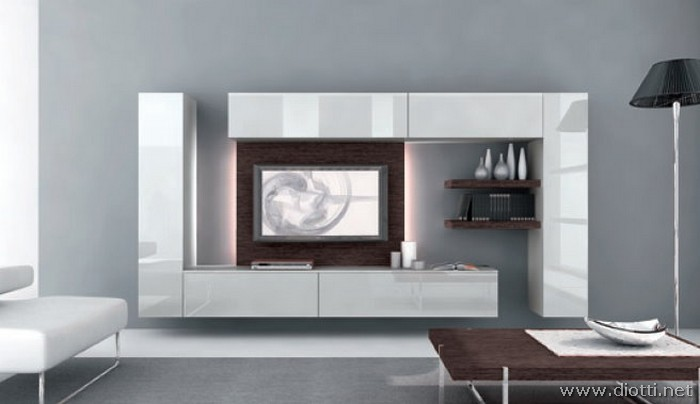 Day mobile soggiorno PD01 grigio perla rovere moro